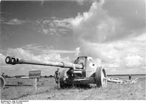 8.8 cm Pak 43 - 8.8 cm Pak 43/41 on display at a weapons show on the northern sector of the Eastern Front in 1943.