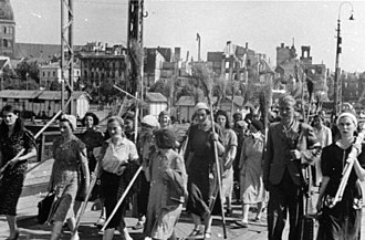German occupation of Latvia during World War II - Clean-up team in destroyed Riga, July 1941