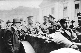 Walther Rathenau - Hermann Ehrhardt (left, sitting in the car) during the Kapp-Putsch in Berlin, 1920.