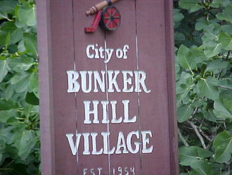 Bunker Hill Village, Texas - Sign indicating the city
