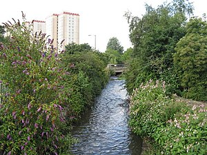 Lothian - The Lothian (Burdiehouse) Burn as it passes through Little France, Edinburgh