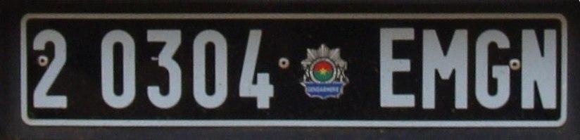 Burkina Faso Gendarmerie Staff Vehicle license plate