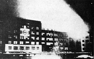 Bombing of Nagoya in World War II - Nagoya Station in flames, March 19.