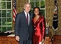 Bush stands with Ambassador La Celia Aritha Prince of Saint Vincent and the Grenadines.jpg