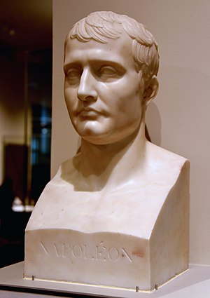 Antoine-Denis Chaudet - Bust of Napoleon I, 1807-1809 CE. Marble, from Carrara, Italy. After Antoine-Denis Chaudet. The Victoria and Albert Museum, London