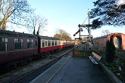 Butterley railway station, Derbyshire, England -signal-19Jan2014.jpg