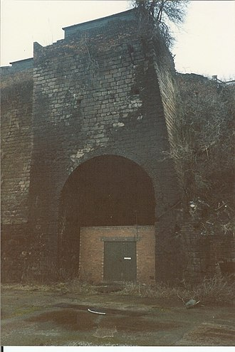 Butterley Company - Blast furnace from 1790 exposed through building demolition in 1986