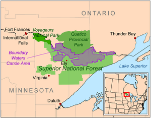 Superior National Forest - Location of the forest
