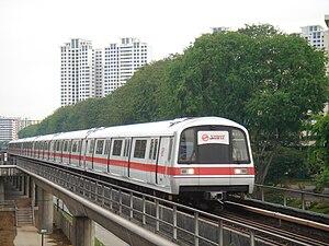 Kawasaki Heavy Industries C151 - A C151 train before refurbishment, approaching Ang Mo Kio MRT Station.