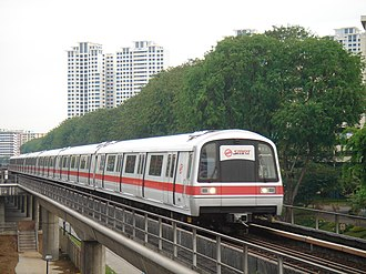 Kawasaki Heavy Industries C151 - A C151 train before refurbishment, approaching Ang Mo Kio MRT Station.