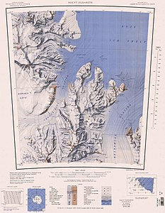 Map sheet with the mouth of the BEARDMORE GLACIER in the east