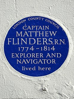 Photo of Matthew Flinders blue plaque