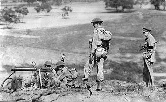 Australian Army Reserve - A CMF machine gun team during an exercise in 1952