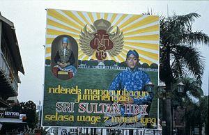 Hamengkubuwono X - Billboard announcing the installation of Hamengkubuwono X on 7 March 1989.