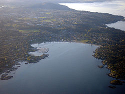 Aerial of Saanich, with Cadboro Bay in the foreground