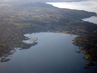 Saanich, British Columbia - Aerial of Saanich, with Cadboro Bay in the foreground