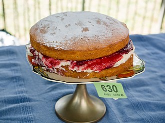 Sponge cake - Sponge Cake (Victoria sponge) at a 2014 village fête baking competition