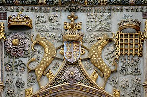 Yale (mythical creature) - Yales serving as supporters above the gate of St John's College, Cambridge