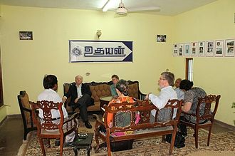 Hugh Segal - Senator Hugh Segal, Canadian High Commissioner in Sri Lanka Shellie Viding including five delegates met E. Saravanapavan at Uthayan newspaper premises in Jaffna.