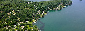 Brookfield, Connecticut - An aerial view of Candlewood Shores in Brookfield