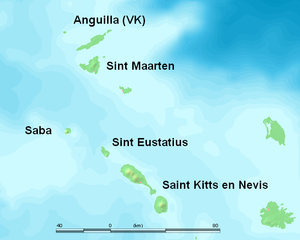 Saba Conservation Foundation - A map showing Saba on the left and a number of the other Leeward Islands