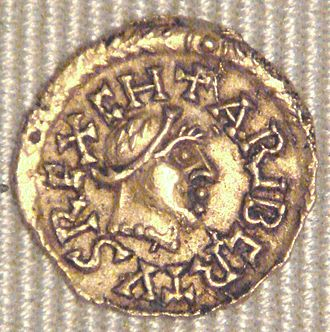 Charibert II - Tremissis or Charibert II, minted at Banassac, bearing his effigy and name