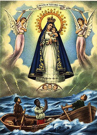 "Our Lady of Charity - A devotional rendering image of Our Lady of Charity, featuring the ""two Indians"" and an African passenger on its legendary ship."