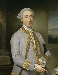 Half-length portrait of a middle-aged man with a wig. He is wearing a good coat. His left hand is inside his waistcoat.