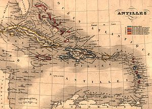 Antilles - Map of Antilles / Caribbean in 1843.