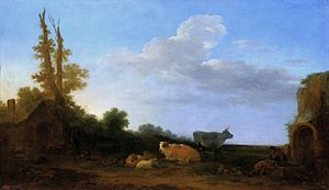 Francesco Giuseppe Casanova - Cattle on pasture, Palace on the Water in Warsaw.