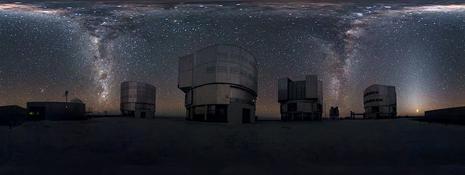 A 360-degree panorama of the Milky Way at the Very Large Telescope. Such a panorama shows the entire field of view (FOV) of the telescope in a single image. In the image, the Milky Way appears like an arc of stars spanning horizon to horizon with two streams of stars seemingly cascading down like waterfalls. Cascading Milky Way.jpg