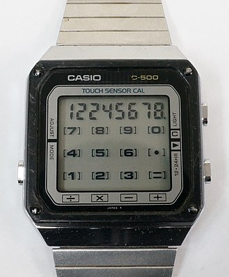 Calculator watch - The Casio TC500 touch sensor calculator watch from 1983. It uses a capacitive touch screen for the calculator and function buttons.