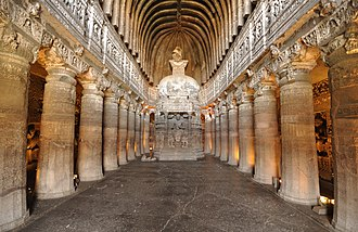 Marathwada - Chaitya Griha or prayer hall at Ajanta Caves in cave number 26