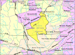 Census Bureau map of Bernards Township, New Jersey