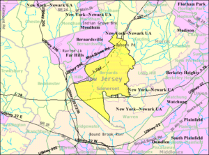 Bernards Township, New Jersey - Image: Census Bureau map of Bernards Township, New Jersey