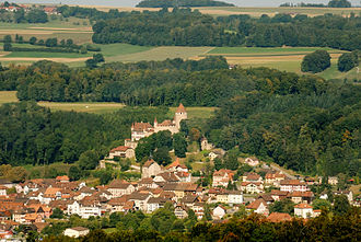 Lucens - View of Lucens Castle and town along with surrounding countryside