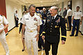Chairman of the Joint Chiefs of Staff Army Gen. Martin E. Dempsey, right, and Vice Chairman of the Joint Chiefs of Staff Navy Adm. James Winfield talk after attending the National Guard Bureau change 120907-D-VO565-038.jpg