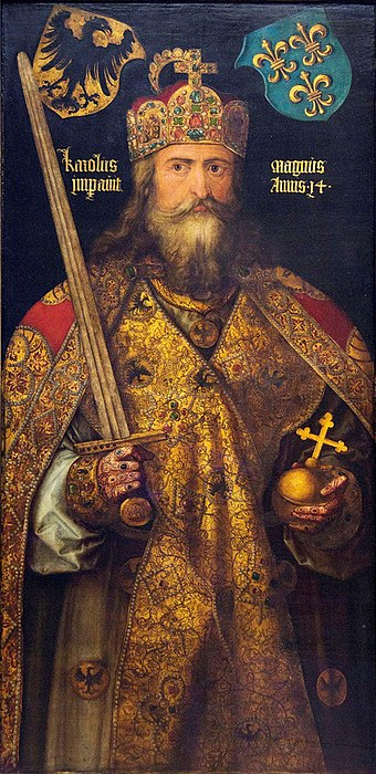 Charlemagne, by Albrecht Durer, the anachronistic coat-of-arms above him show the German eagle and the French Fleur-de-lis. Image-Charlemagne-by-Durer.jpg