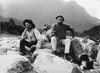 Charlie Douglas - Charlie Douglas (left), Arthur Paul Harper, and Douglas' dog Betsey Jane in the valley of the Cook River in 1894