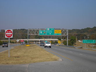 U.S. Route 412 in Oklahoma - The beginning of the Cherokee Turnpike, headed westbound on US-412
