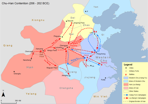 Chu–Han Contention - Map of Chu-Han Contention between Qin and Han dynasties