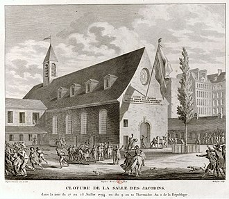 "Jacobin - Engraving ""Closing of the Jacobin Club, during the night of 27–28 July 1794, or 9–10 Thermidor, year 2 of the Republic"""