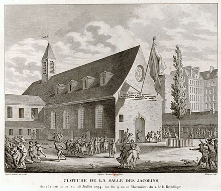 Closing of the Jacobin Club by Louis Legendre, in the early morning of 28 July 1794, or 10 Thermidor, year II of the Republic Cloture de la salle des Jacobins 1794.jpg