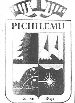Coat of arms of Pichilemu - Original design of the coat of arms of Pichilemu as published in the December 1986 edition of Pichilemu