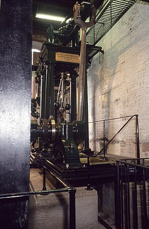Stationary steam engine - The restored Kittoe and Brotherhood beam engine at Coldharbour, which is steamed up regularly on Bank Holiday weekends.