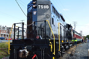 Colebrookdale Railroad - The inaugural excursion of the Colebrookdale Railroad on October 18, 2014, led by EMD GP10 7580 in Pennsylvania Railroad colors