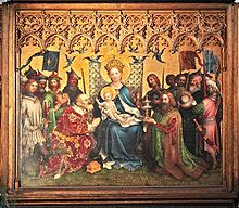 Rectangular central section of an altarpiece in the International Gothic style, showing the Three Kings adoring the Christ Child. The arrangement is formal, balanced and intricately detailed, the Virgin Mary, in a robe of brilliant blue sits enthroned with Jesus on her knee at the center of the painting. The figures have a sweet, doll-like quality, on either side kneel the two older kings clothed in robes of patterned velvet, one green and the other crimson, with gifts of a golden box and a silver chalice. The youngest king stands behind one of the kneeling figures, and presents a container of semi-precious stone.