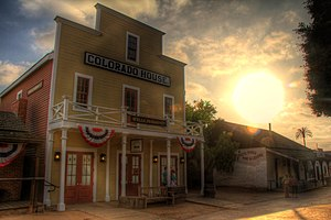 Old Town San Diego State Historic Park - Colorado House at sunset