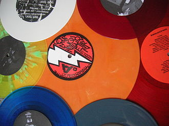 Vinyl polymer - Vinyl polymer products (such as these records) come in many colors.