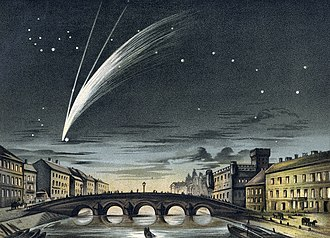 Comet Donati - The comet with both gas and dust tails depicted.